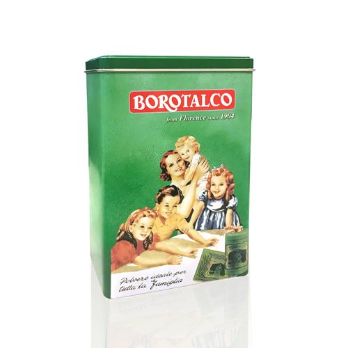 Scatola verticale di Latta Personalizzata con stampa Borotalco