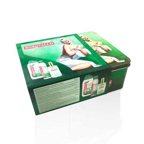 Scatola bassa Latta con sleeve in cartoncino personalizzata Borotalco